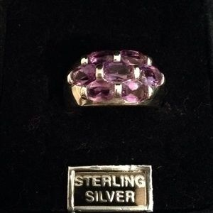 Jewelry - Sterling Silver & Triple Row of Amethyst Ring